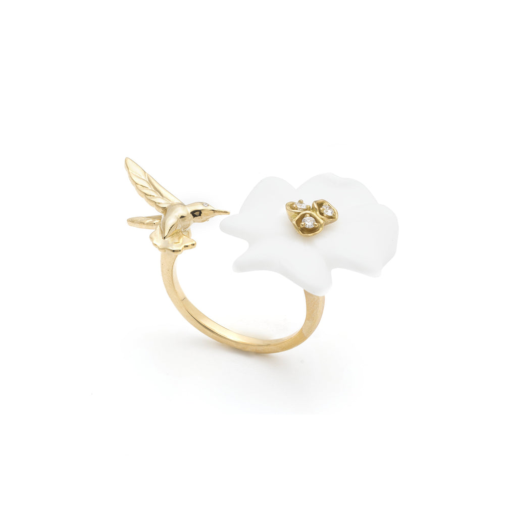 Clover & Hummingbird Double Sided Ring