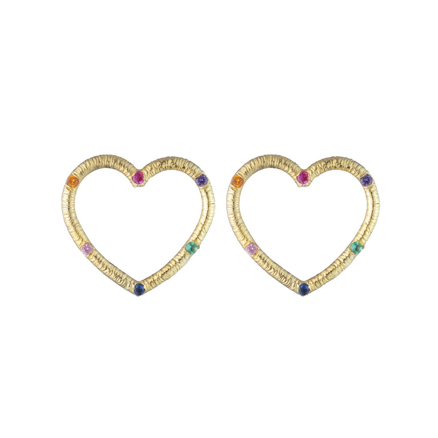 Medium Textured Heart Stud Earrings with Precious Gemstones