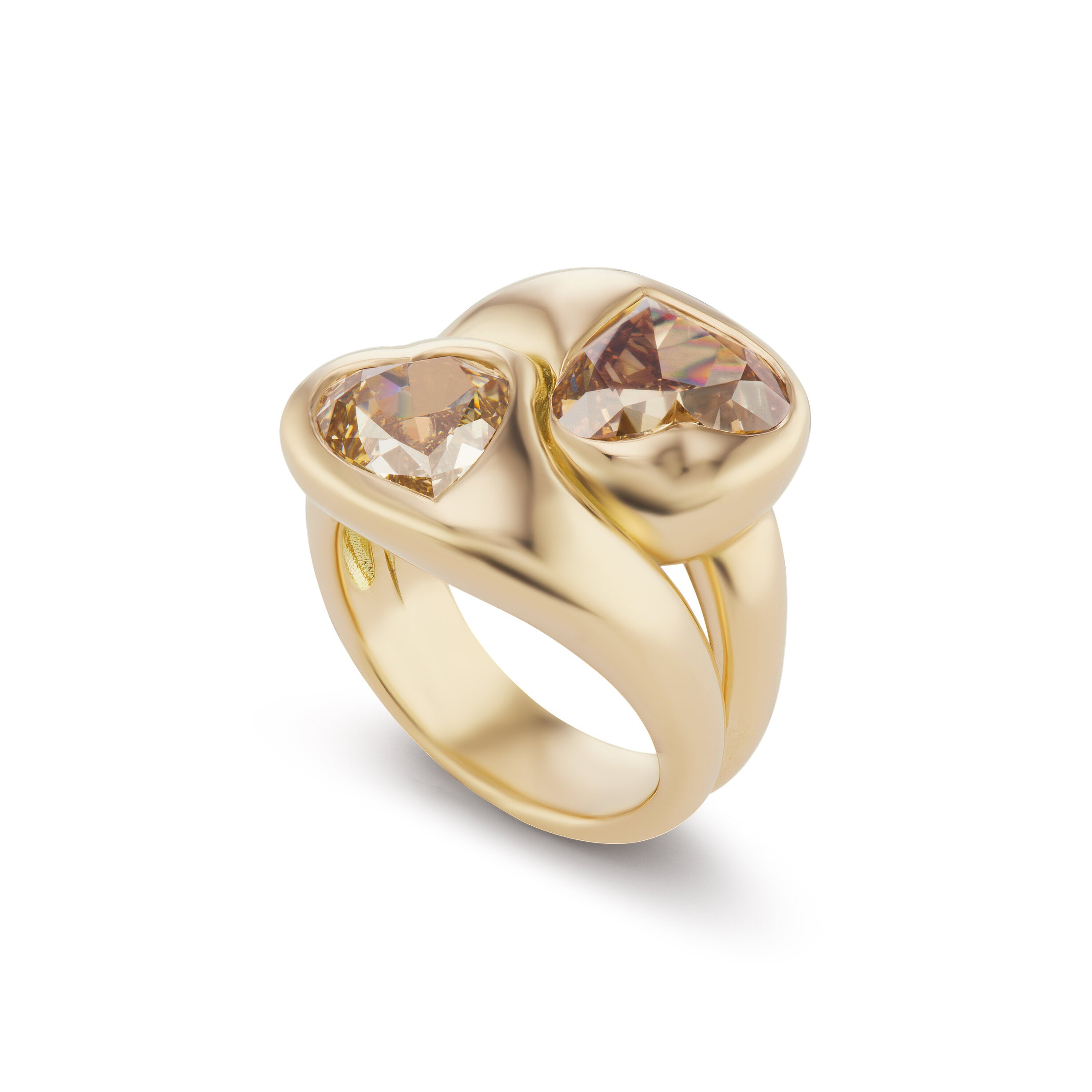 Knot Ring with Champagne Diamond Hearts