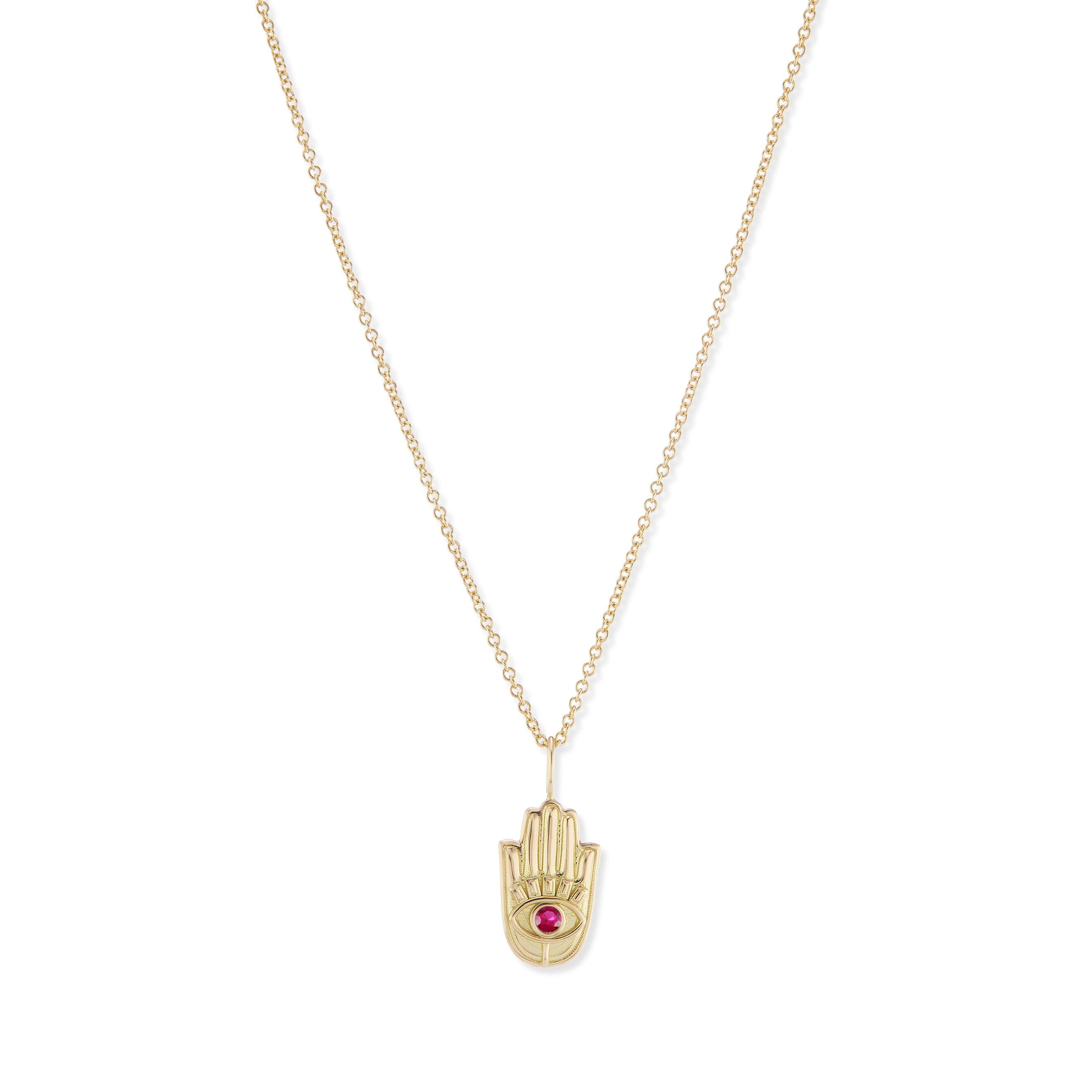 Mini Gold Hamsa Pendant with Stone Eye