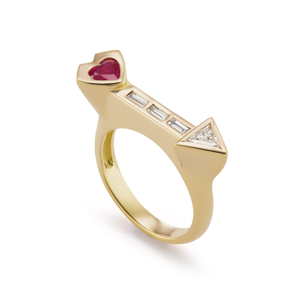 Artemis Ring with Ruby Heart