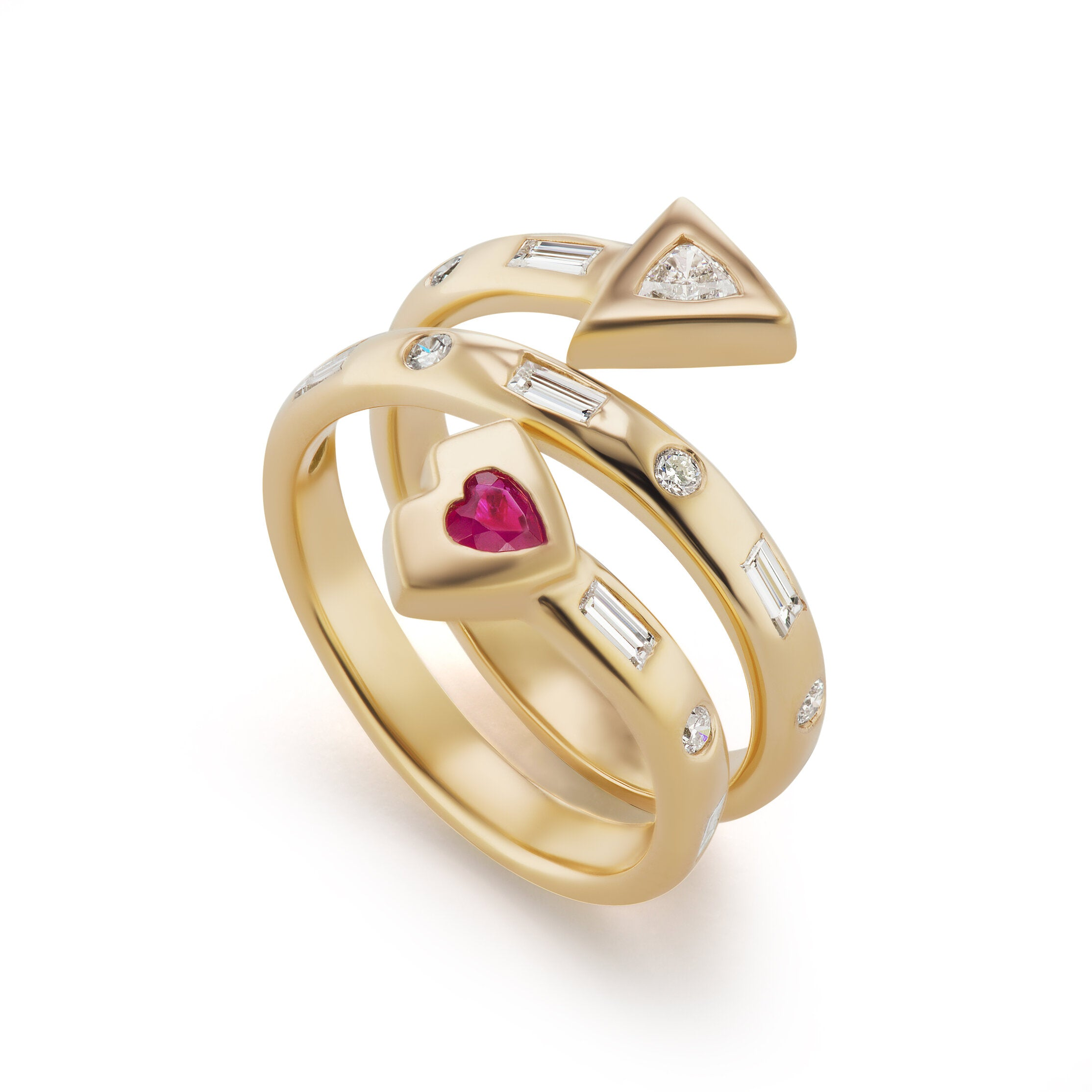 Artemis Coil Ring with Ruby Heart