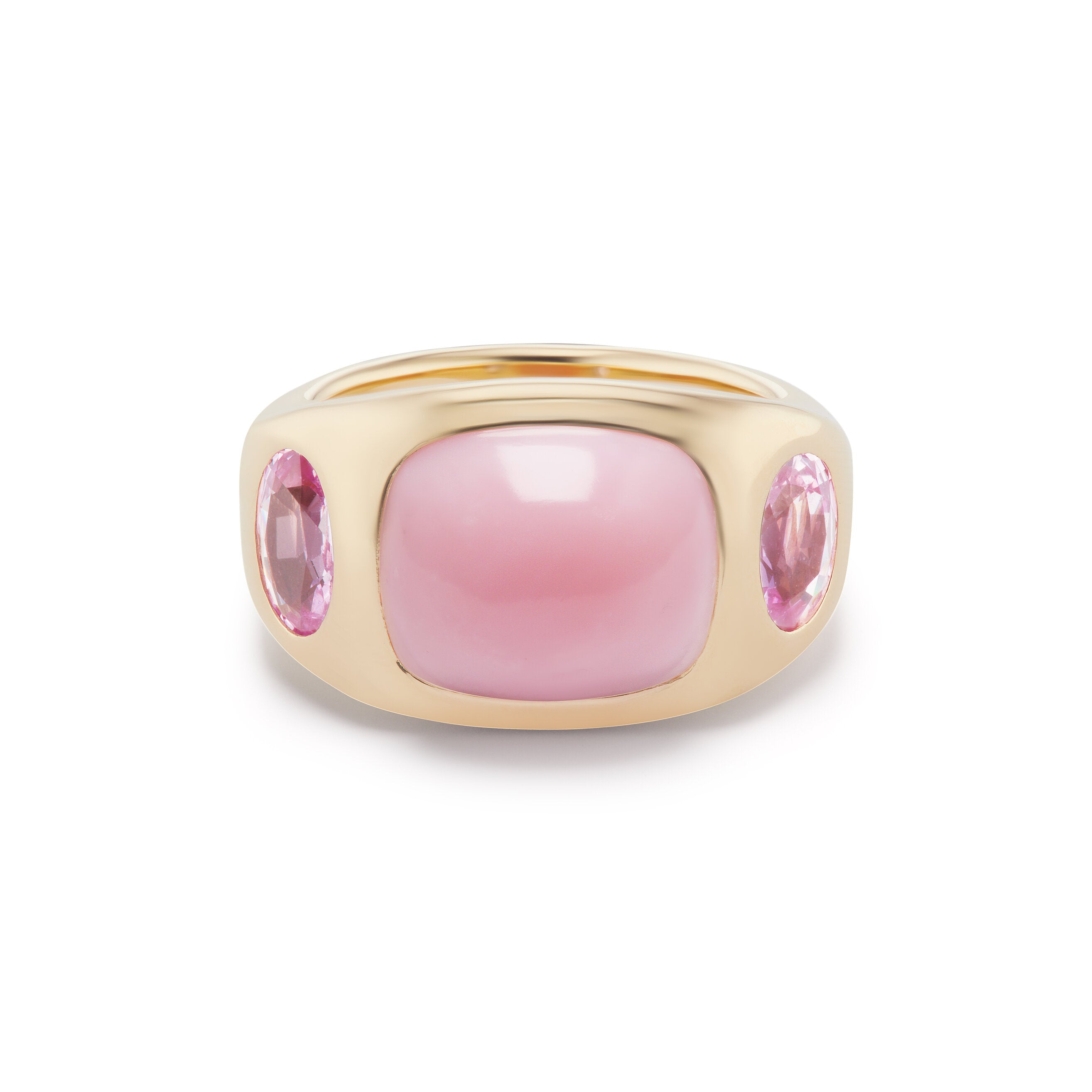 Pink Opal Cabochon Gypsy with Oval Pink Sapphire Sides