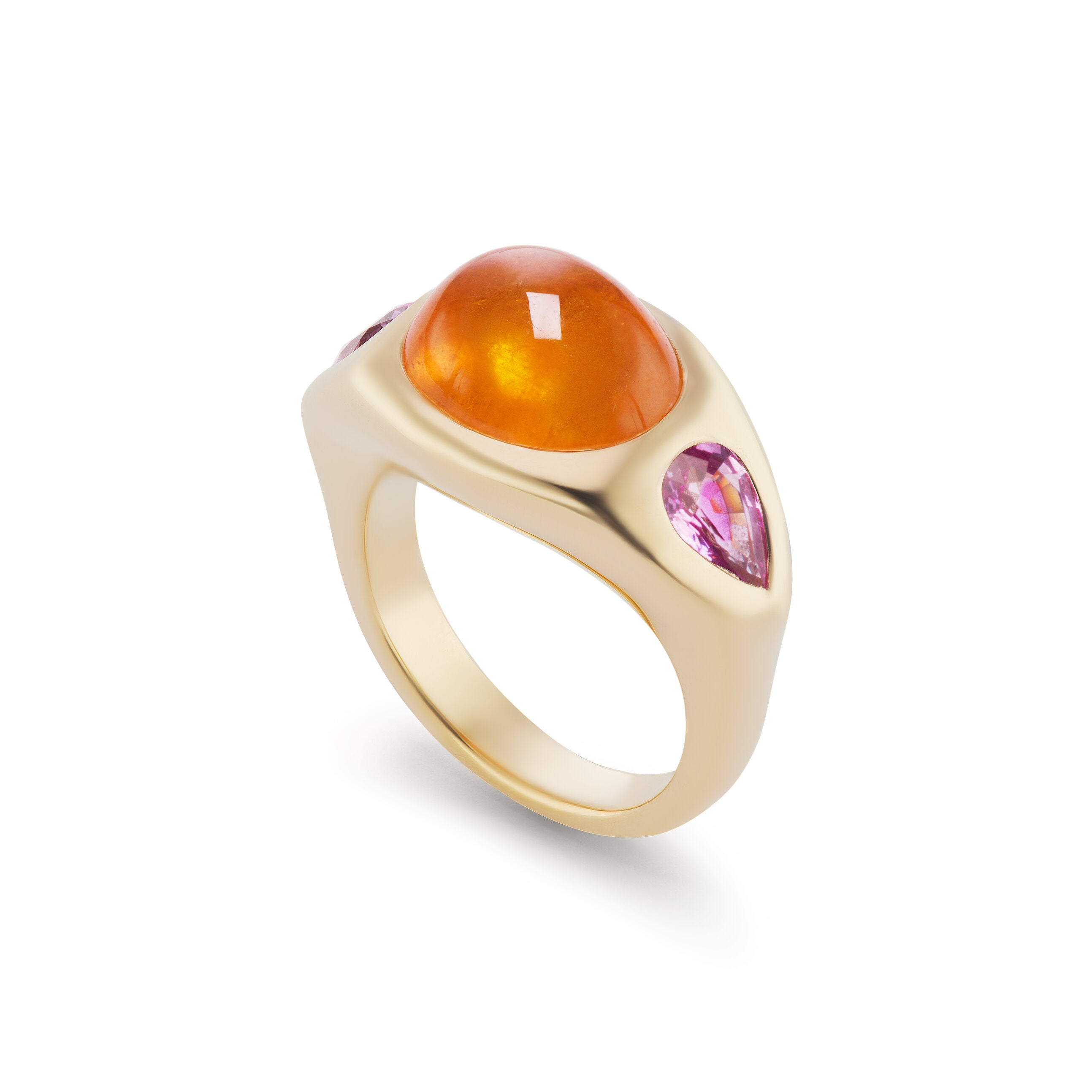 Gypsy Ring with Spessartite Cabochon and Pink Sapphire Pears