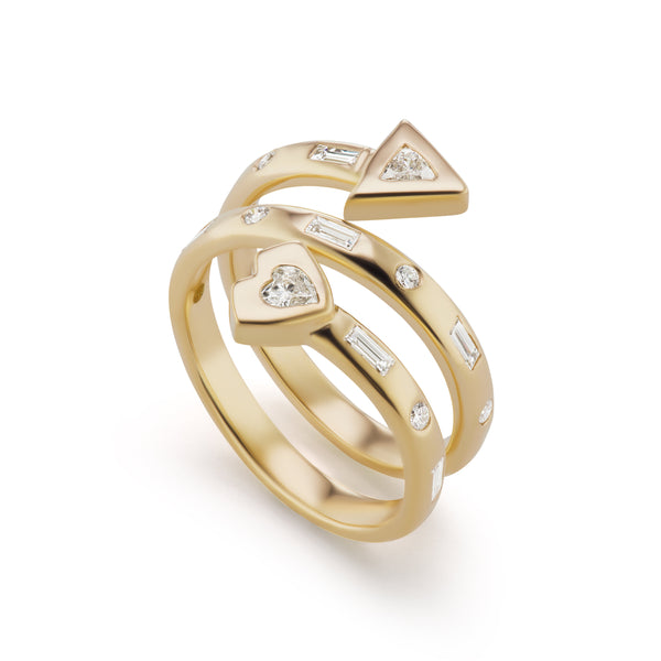 Artemis Coil Ring with Diamond Heart