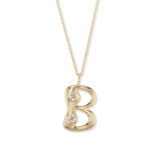 "Bubble Letter Pendant with Precious Stones on 18"" Chain"