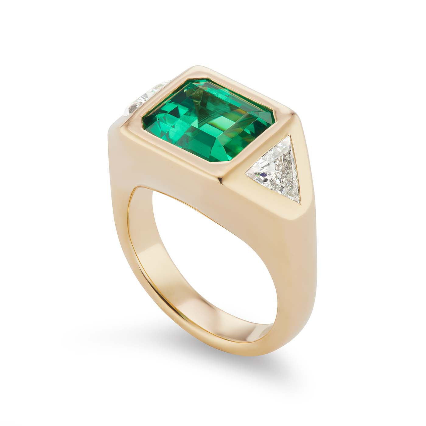 One-of-a-Kind Emerald Gypsy with Triangle Diamond Sides