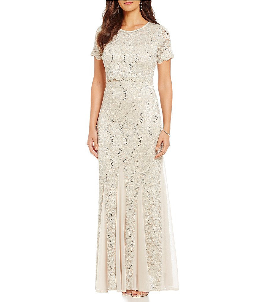 R&M Richards Sequined Lace Popover Gown