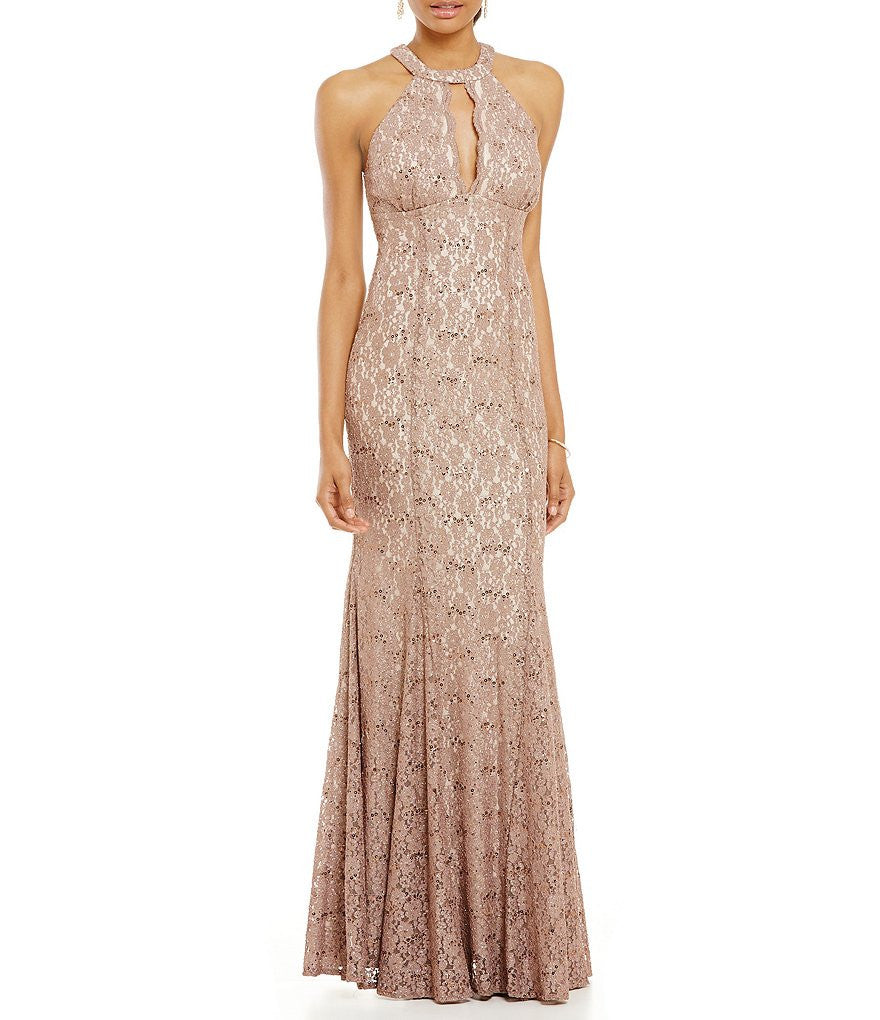 R&M Richards Halter Glitter Lace A-line Gown
