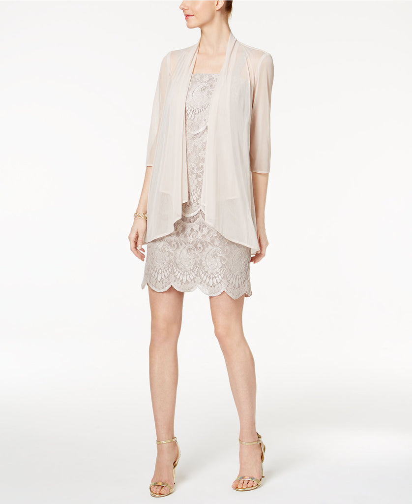 R&M Richards Petite Lace Dress and Draped Jacket