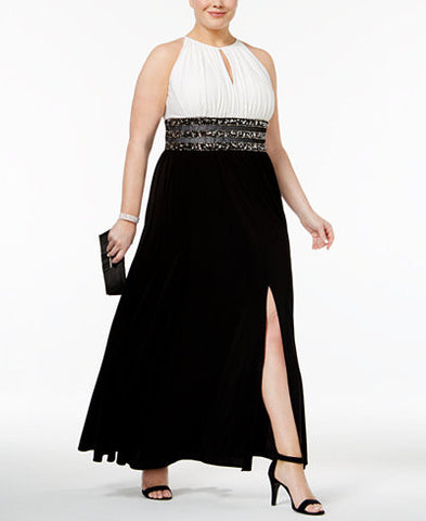 R & M Richards Plus Size Colorblocked Beaded Halter Gown