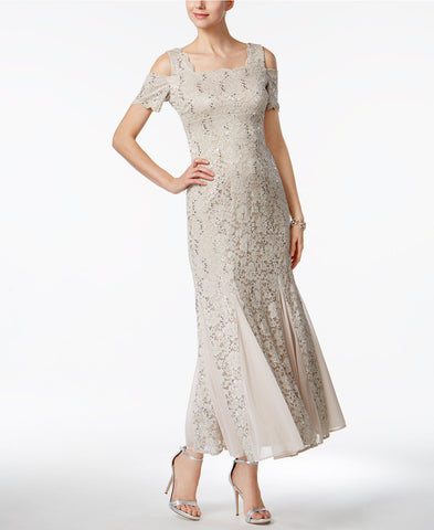 R&M Richards Petite Lace Cold-Shoulder Gown