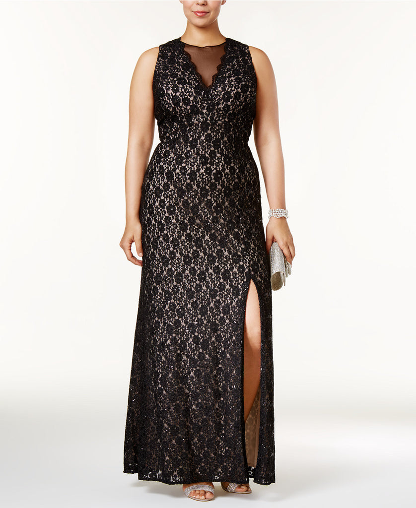 R & M Richards Plus Size Illusion Glitter Lace Gown