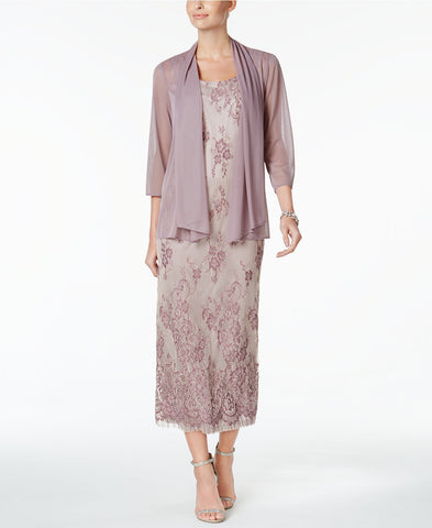 R&M Richards Petite Lace Gown And Jacket