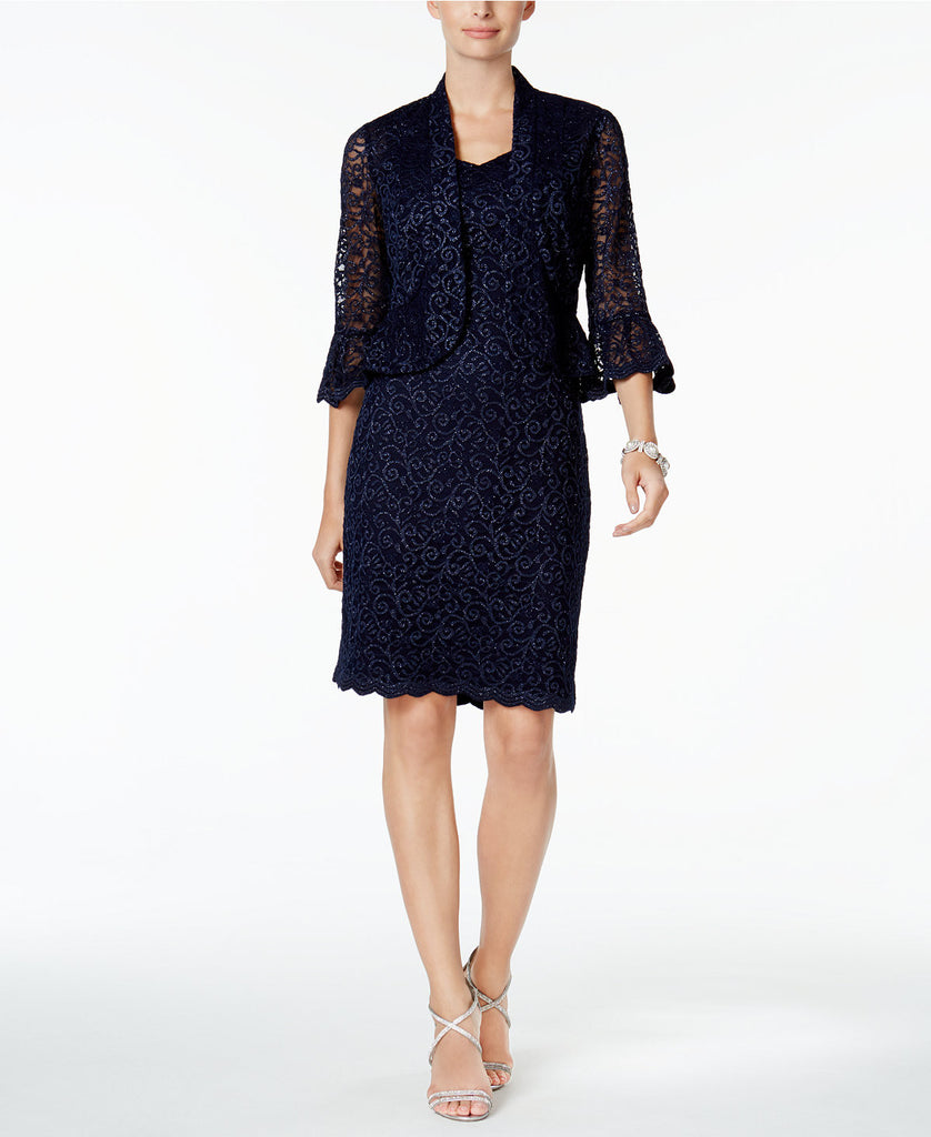 R&M Richards Petite Lace Sheath Dress and Jacket