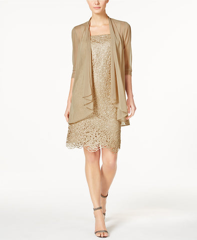 R&M Richards Petite Metallic Sheath Dress and Draped Jacket