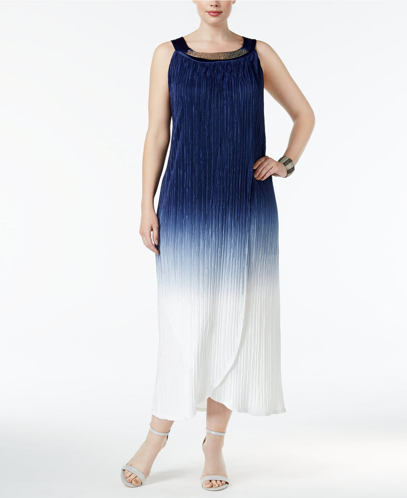 R & M Richards Plus Size Ombré Pleated Dress