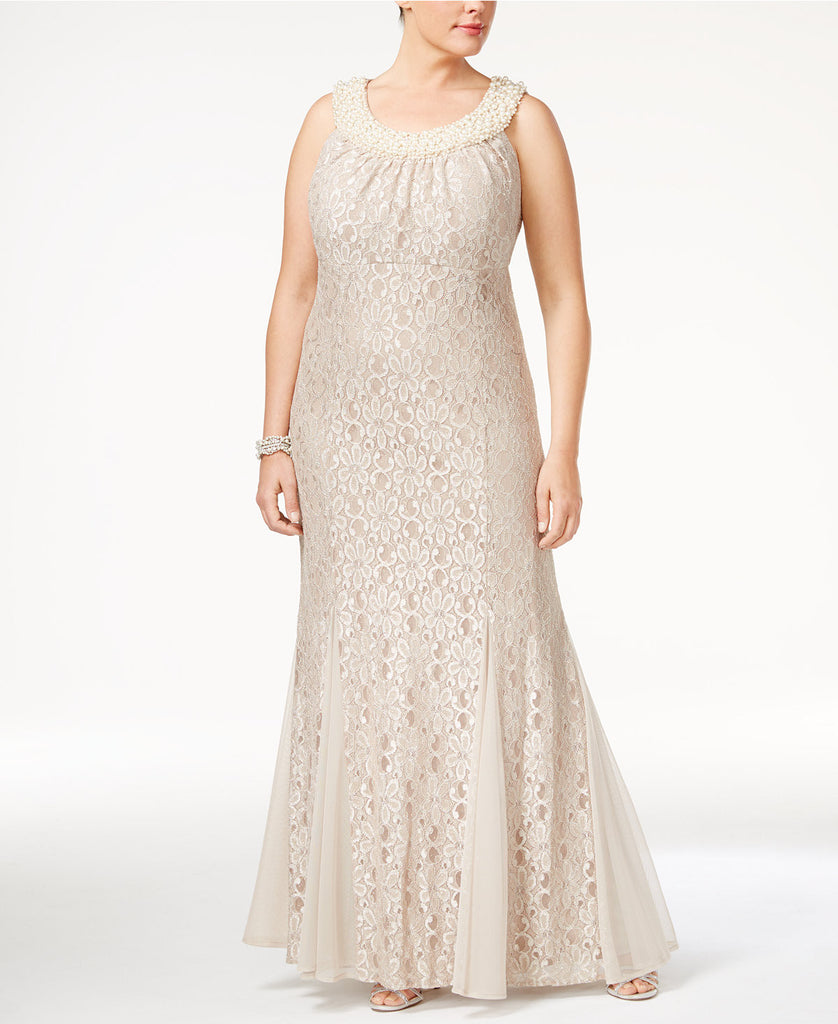 R & M Richards Plus Size Embellished Lace Gown