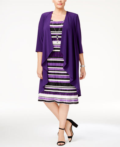 R & M Richards Plus Size Jacket & Necklace Striped Dress