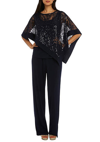 RM Richards 2-Piece Sequin Poncho Pant Set