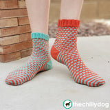 "1 Sock, 2 Sock, Red Sock, Blue Sock Knitting Pattern PDF - Whimsical, ""mis-matched"" socks"