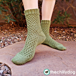 Beekeeper Socks Pattern - Textured, unisex, sock knitting pattern worked from the toe up with a German short row toe and heel.