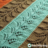 Knit Branches Afghan Pattern - Long, joined lace motif, pieced knit afghan pattern with solids or stripes