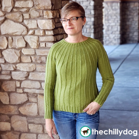 Cereus Sweater: gender neutral, top-down, seamless yoke, long sleeve, knit sweater pattern with a simple ribbed texture