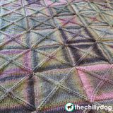 Knit square block motif afghan blanket pattern
