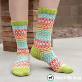 Feeling Scrappy Socks - Adult sized, stash buster, Fair Isle sampler, sock knitting pattern