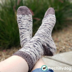 Free Climber Socks Knitting Pattern PDF: Gender neutral knitting pattern in 6 sizes fits most adult feet. Worked from the toe up with wrap and turn short row toes and a flap-free gusset heel