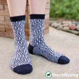 Grand Staircase Socks Knitting Pattern PDF: Gender neutral sock pattern with a bold mosaic pattern in alternating stripes