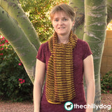 House Scarf Knitting Pattern - Two color, optical illusion, striped knit scarf pattern