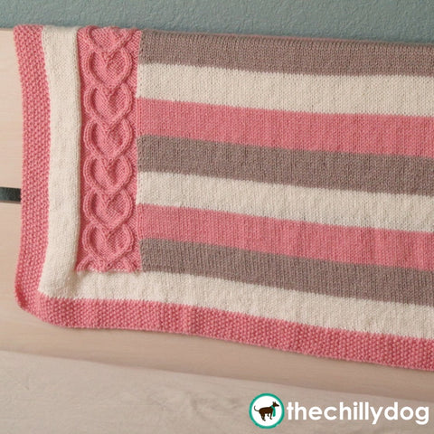 Hearts and Stripes Baby Afghan Pattern - Heart cable and stripes knit baby afghan pattern