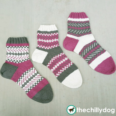Resolutions Sock Trio - Three, mis-matched, color work socks, knitting pattern