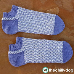 Spring Violet Socks - Twined, two color women's knit sock pattern