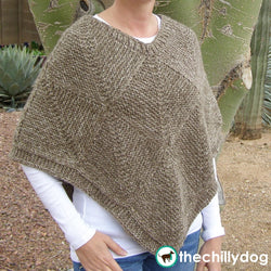 Subtle Striped Squares Poncho - Mitered square, neutral knit poncho pattern