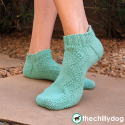 Switchback Socks Knitting Pattern - Summer, short cuffed, ankle sock knitting pattern for women featuring a zigzag pattern and a band heel