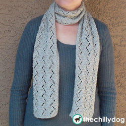 Satiny Vine Lace Scarf Pattern - Soft lace scarf knitting pattern with stitch chart