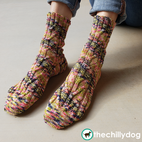 Birch Grove Socks - unisex, toe up, knit sock pattern with an afterthought heel, leaf-like cabled panels and slender, trunk-like ribbing up the sides. #thechillydog