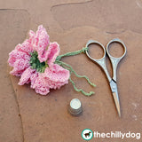 Crochet carnation flower bookmark, scissor fob, hair tie pattern