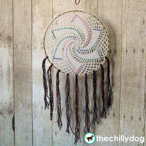 Beaded, crochet star doily dreamcatcher pattern