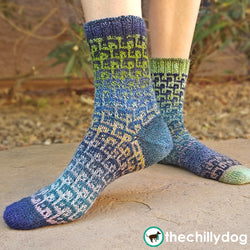 Feeling Loopy Socks Pattern - Unisex toe up sock knitting pattern featuring mosaic colorwork