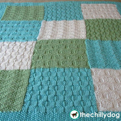 Geometric Baby Blocks Afghan - Three color, stitch sampler, knit baby afghan pattern