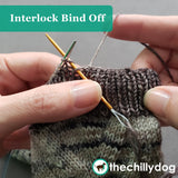 Free Climber Socks Video Tutorial: Learn how to bind off k1, p1 sock cuffs in the round with the interlock bind off