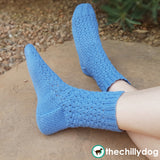 Like a Wink and a Smile Socks - Feminine, lacy, cuff down sock knitting pattern with an eye of partridge heel flap