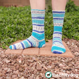 Line Drawing Socks Knitting Pattern PDF: learn to knit top down socks with an afterthought heel