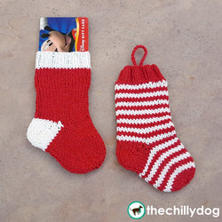 Mini knit Christmas stocking gift card holder pattern