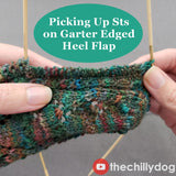 Secret Admirer Socks Video Tutorial: Picking up sts along a garter st edged heel flap
