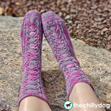 Sock Knitting Pattern with Lace, Inverted Heart Motif and Flap and Gusset Heel